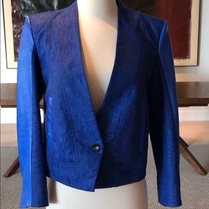 Helmut Lang Blue Blazer with Leather Detail